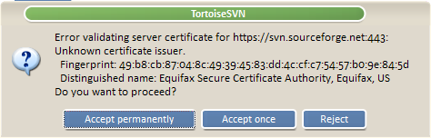 Invalid Certificate Dialog