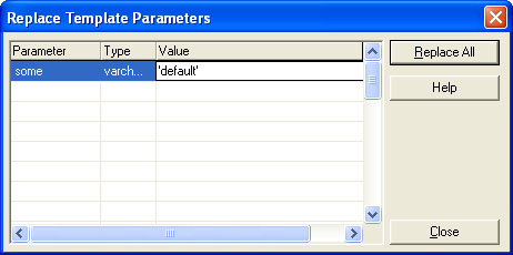Replace Template Parameters Dialog