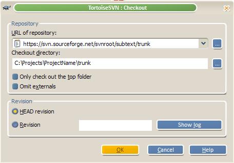TortoiseSVN Checkout Dialog