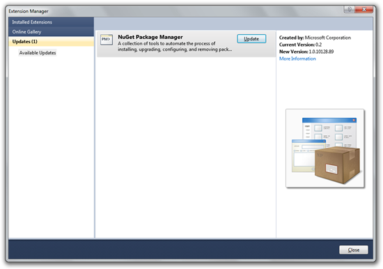 Extension Manager Displaying NuGet as an Available Updates