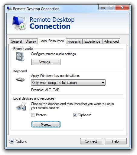 Remote Desktop Local Resources Options