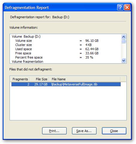 Defrag Report