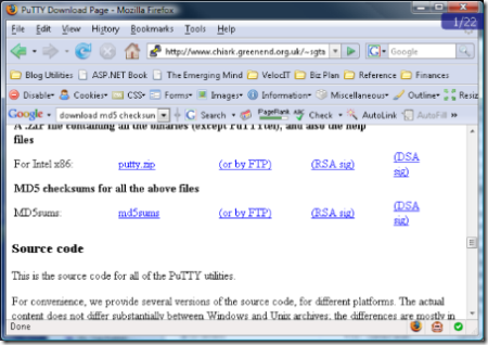 Putty Download Page. Shows links to MD5 Checksums