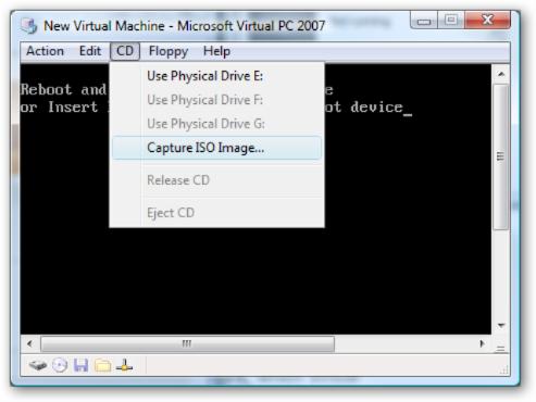 Virtual PC Capture ISO Image Menu