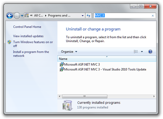 mvc3-update-installed