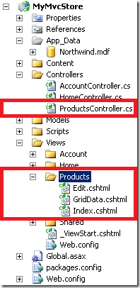 Solution explorer view of the project structure
