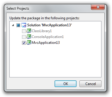 NuGet Project Selection