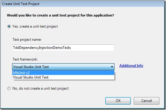 Select Unit Test Project